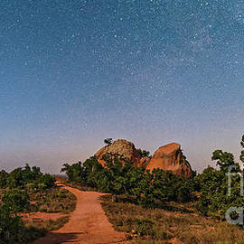 Moonlit Landscape At Enchanted Rock State Natural Area - Fredericksburg Texas Hill Country by Silvio Ligutti
