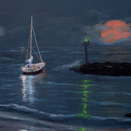 Ken Figurski - Moonrise Bay Acrylic Painting