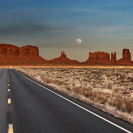 Moonrise Over Monument Valley by Lou Novick