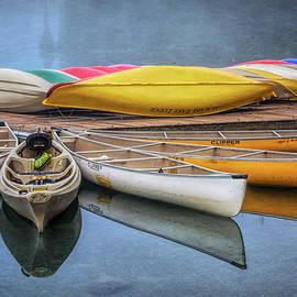 Moraine Lake Canoes by Joan Carroll