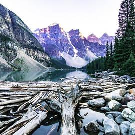 Moraine Lake Log Jam by Norma Brandsberg
