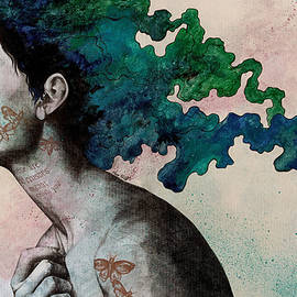 Marco Paludet - Moral Eclipse - colorful hair woman with moths tattoos