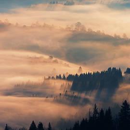 Sergey Ryzhkov - Morning fog in mountain village. Carpathians