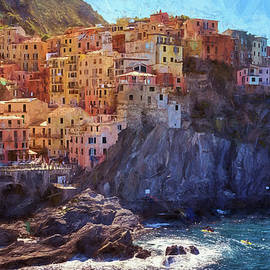 Joan Carroll - Morning in Manarola Cinque Terre Italy Painterly