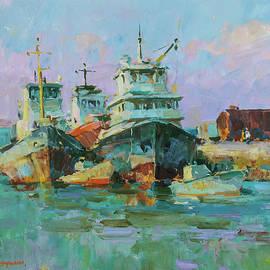Morning in the port by Aleksandr Kryushyn