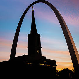 Gregory Ballos - Morning Silhouettes - St. Louis Gateway Arch and the Old Cathedral at Sunrise