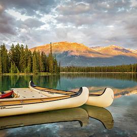 Jasper Lake Canoes by John Johnson