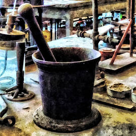 Mortar And Pestle In Chem Lab by Susan Savad