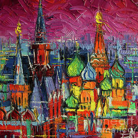 MOSCOW RED SQUARE VIEW textural impressionist stylized cityscape by Mona Edulesco