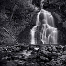 Moss Glen Falls - Monochrome by Stephen Stookey