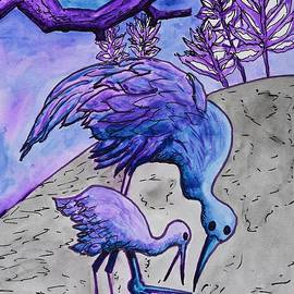 Mother and Baby Crane Abstract in Blue by Linda Brody