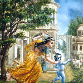 Mother Yashoda Tries To Catch Krishna by Dominique Amendola