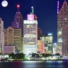 Frozen in Time Fine Art Photography - Motor City Night with Full Moon