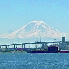 Mount Rainier From Seattle Harbor by Don Mercer