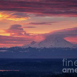 Mount Rainier Morning Fire by Mike Reid