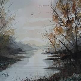 David K Myers - Mountain Lake 2 Watercolor