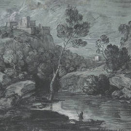 Mountain Landscape With A Castle And A Boatman by Thomas Gainsborough