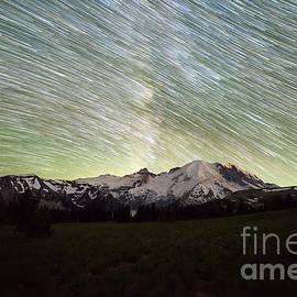 Mountain Rainier Star Trails  by Michael Ver Sprill