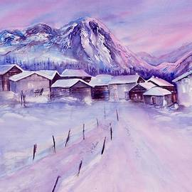 Mountain village in snow by Sabina Von Arx