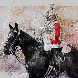 Mounted Household Cavalry Soldier On Guard Duty In Whitehall Lon by Anthony Murphy