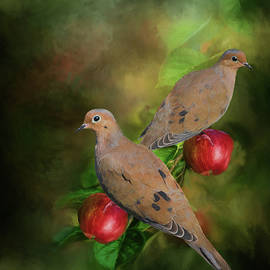 Mourning Doves on the Apple Tree - Painting by Ericamaxine Price