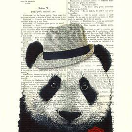 Panda With Fedora Hat And Red Rose