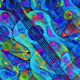 Musical Energy in the Universe-Abstract Blue Guitar by Laurie's Intuitive