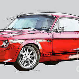 Mustang Shelby GT500 - Handmade drawing, gift for men
