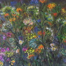 Katia Iourashevich Ricci - My flowers meadow with daisies, violets, etc.