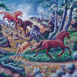 My Horses Crossing the Creek by Dawn Senior-Trask