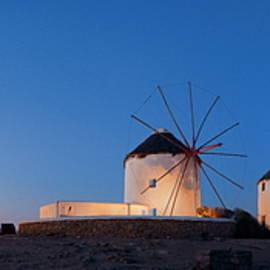Mykonos Windmill Night Panorama by Songquan Deng