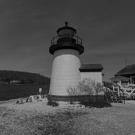 Mystic Seaport Lighthouse Black And White by Brian MacLean