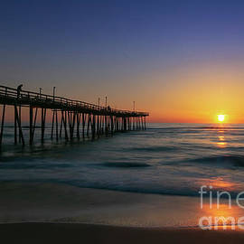Nags Head Pier Sunrise Reflections by Norma Brandsberg