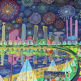 Raphael Perez - Naive Painting By Raphael Perez Fireworks Above The City