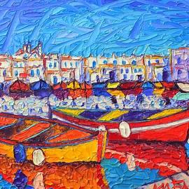 NAOUSA HARBOR GREECE PAROS ISLAND modern impressionist palette knife oil painting Ana Maria Edulescu by Ana Maria Edulescu