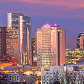 Jon Holiday - Nashville Skyline at Dusk 2018 1 to 4 Ratio Panorama Color