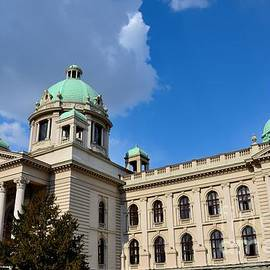 National Assembly Parliament building with domes and horse sculpture Belgrade Serbia  by Imran Ahmed