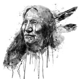 Native American Portrait Black and White by Marian Voicu