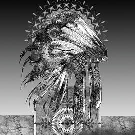 native headdress black and white 2 - Bekim Art