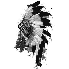 native headdress black and white - Bekim Art