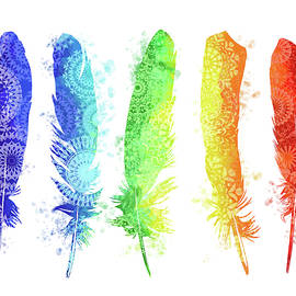 native rainbow feathers - Bekim Art