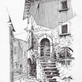 Navelli dip pen sketch  by Paul Davenport