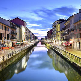 Naviglio Grande Canal at the Blue Hour, Milan, Italy by Gheorghi Pentchev