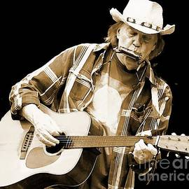 John Malone - Neil Young Sepia Toned Watercolor
