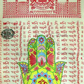 A K Mundra - Nepal Thangka Painting Miniature Art Buddha Hand Indian Mandala Tapestry