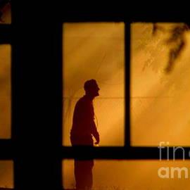 Michael Hoard - New Orleans Fire Watcher Thru The Window Panes