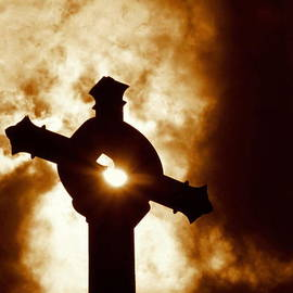 Michael Hoard - New Orleans St. Joseph Catholic Church Rooftop Cross In Sepia Tone