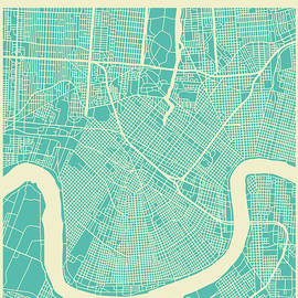 NEW ORLEANS STREET MAP - Jazzberry Blue