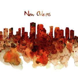 New Orleans watercolor skyline by Marian Voicu