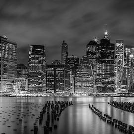 NEW YORK CITY Monochrome Night Impressions - Panoramic - Melanie Viola